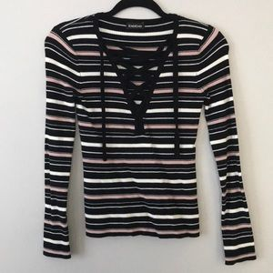 Bebe striped black, white and pink top